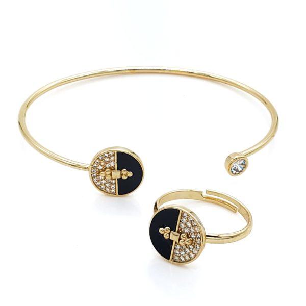 Gold-filled black semicircle bracelet and ring set