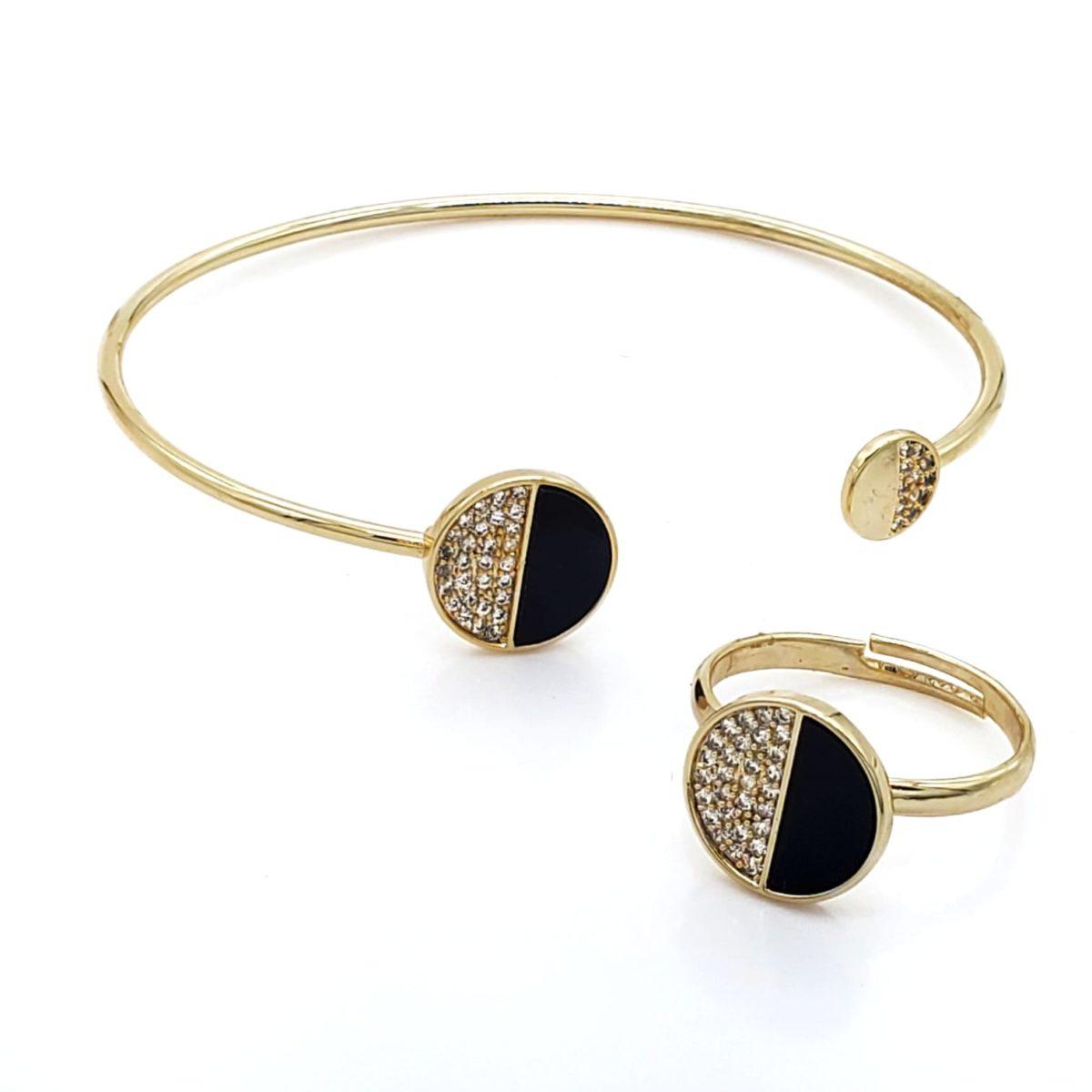 סט צמיד וטבעת חצי זירקון ואבן שחורה גולדפילד