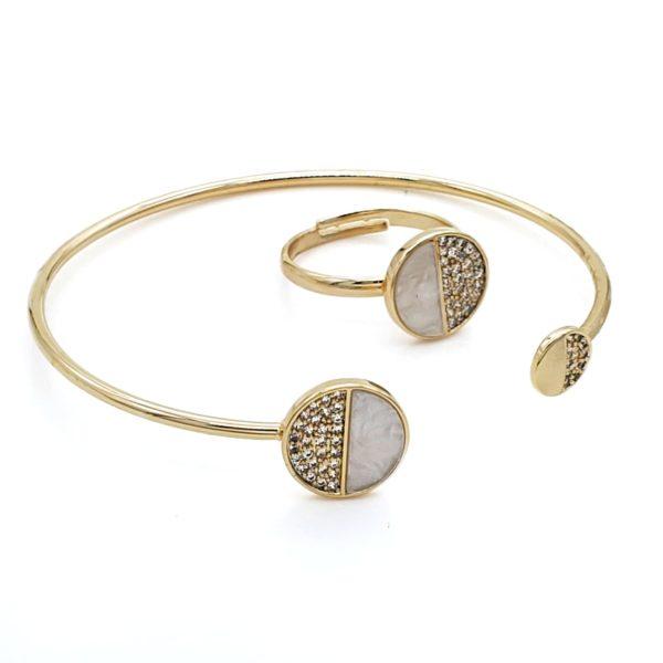 סט צמיד וטבעת חצי זירקון גולדפילד זהב