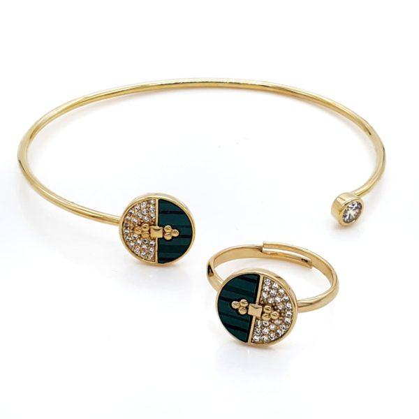 סט צמיד וטבעת חצי עיגול ירוק גולדפילד