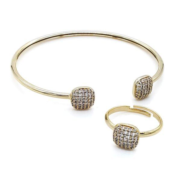 סט צמיד וטבעת זירקון גולדפילד זהב