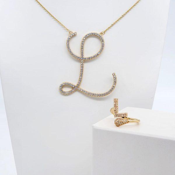 סט שרשרת וטבעת אות L גולדפילד זהב