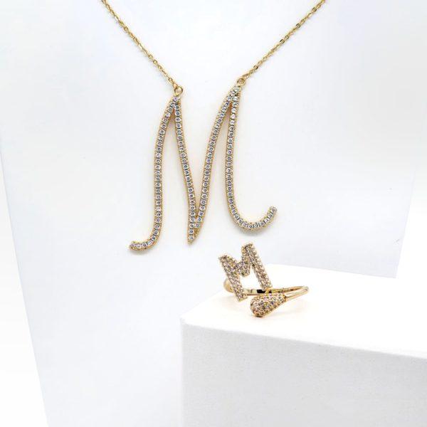 סט שרשרת וטבעת אות M גולדפילד זהב