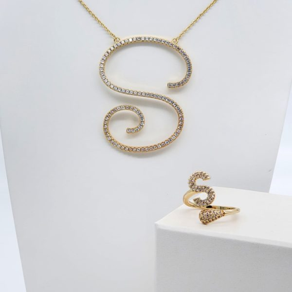 סט שרשרת וטבעת אות S גולדפילד זהב