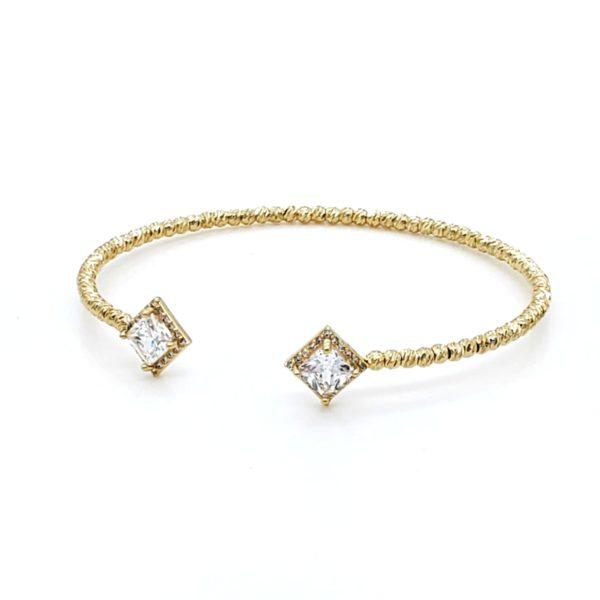 צמיד זירקון מרובע גולדפילד זהב