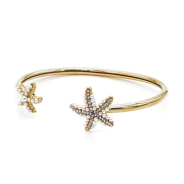צמיד כוכב ים משובץ גולדפילד זהב .